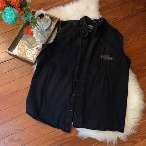 Harley Davidson denim black cutoff vest 2xl
